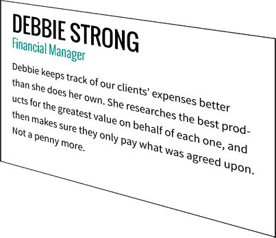 Debbie Strong, Financial Manager
